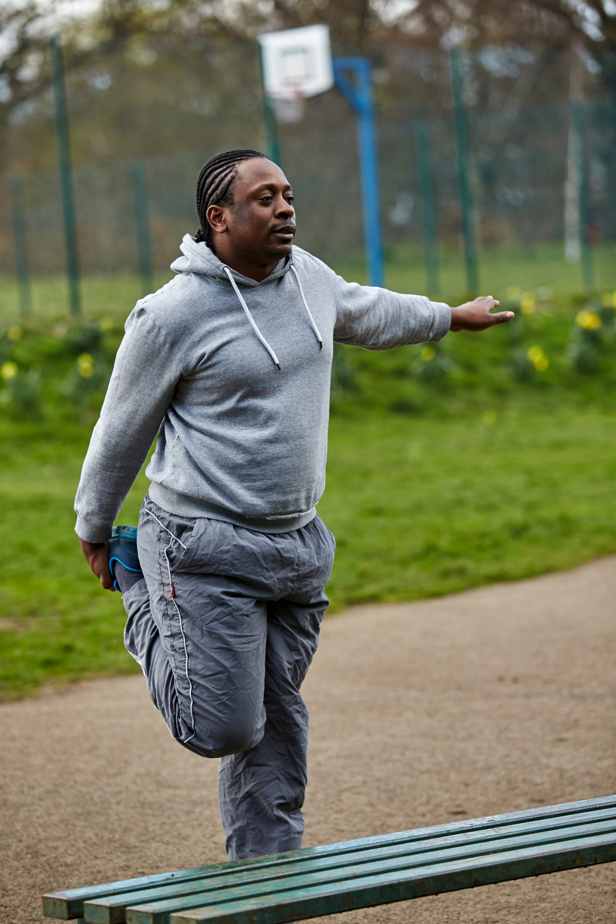 Man exercising in park